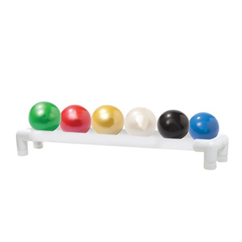 Thera-Band Soft Weights ball - 6-piece set (1 each: tan, yellow, red, green, blue, black), with 1-tier rack