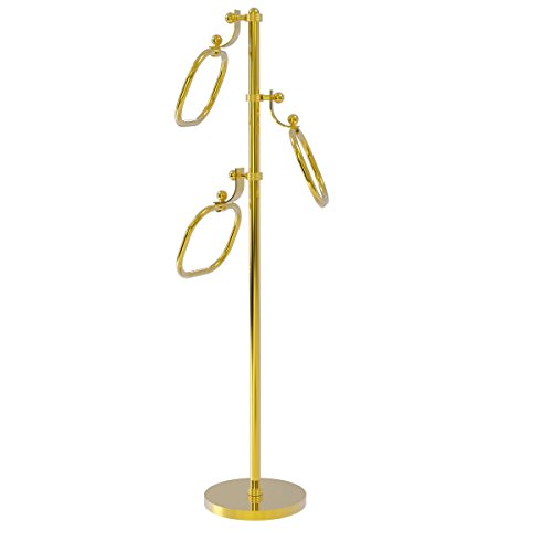 Allied Brass TS-83G Towel Stand with Oval Towel Rings (Allied Ring Oval Towel)