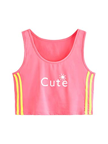 (SweatyRocks Women's Sexy Sleeveless Letter Printed Striped Side Vest Tank Crop Top Pink L)