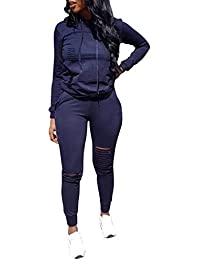 6f790e2fed9 Women Casual Ripped Hole Pullover Hoodie Sweatpants 2 Piece Sport Jumpsuits  Outfits Set
