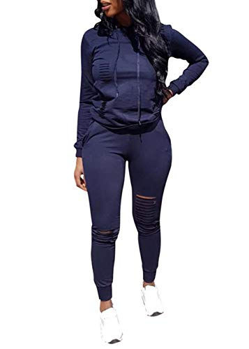 (Women Casual Ripped Hole Pullover Hoodie Sweatpants 2 Piece Sport Jumpsuits Outfits Set (Navy,)