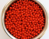 Red Edible Sugar Pearls Dragees Decoration Balls 2 Ounces