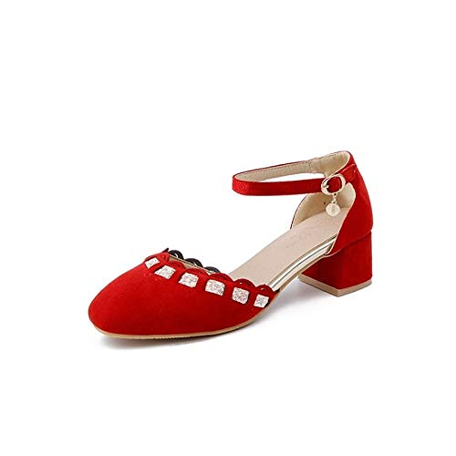 Heel Shoes Comfort Women's Red Polyurethane Beige Chunky Red amp; Heels PU Spring ZHZNVX Summer Black wUpq14v