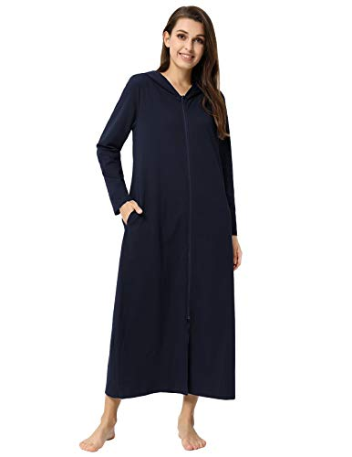Robes for Women Zipper Front Hoodie Long Bathrobe with Pocket Loungewear Navy Blue XL (Calf Robe Length)