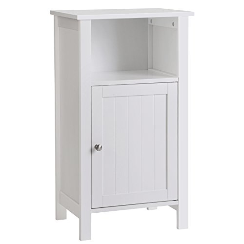 SONGMICS Bathroom Floor Storage Cabinet with Single Door Adjustable Shelf White UBBC45WT