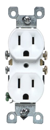 Leviton M12-05320-WMP 15 Amp Duplex Receptacle Grounded, White, (White Duplex Outlet)