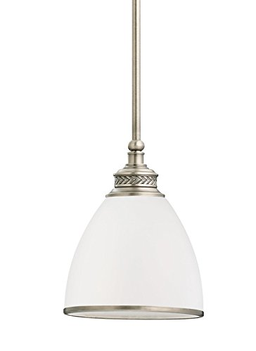 Sea Gull Lighting 61350EN-965 Laurel Leaf - One Light Mini-Pendant, Antique Brushed Nickel Finish with Etched Ripple Glass