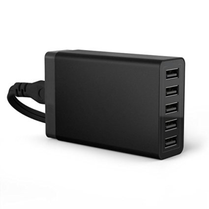 Next-shine Universal 5-Port USB Travel Charger Desktop Hub Charging Station for iPhone 6 / 6 S/ 6 Plus, iPad / Samsung with High Speed,Black