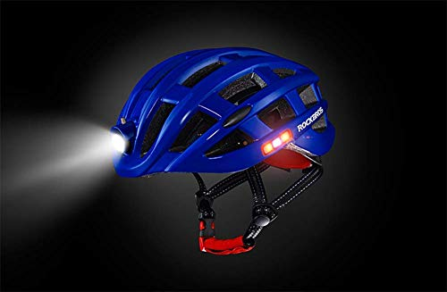 Lxhff Motorcycle Helmet with The Bicycle Warning Light Emitting Insect Mountain Road Men Riding Breathable Helm,Red (Color : Blue) from Lxhff