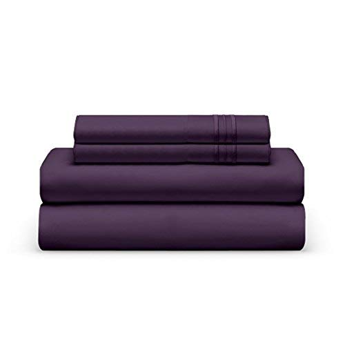 (THE BEDSHEET CLUB King Bed Sheet Set - Plum Luxury Sheet Set - Super Soft Hotel Bedding Deep Pocket - Cool & Wrinkle Free - 1 Fitted, 1 Flat, 2 Pillow Cases - Sugar Plum King Bedding - 4 Pieces)