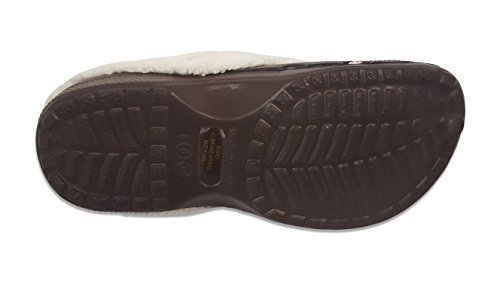 Womens Faux Fur Lined Indoor/Outdoor Garden Slide Clogs (Brown, Medium) (Fur Lined Rubber Clogs)