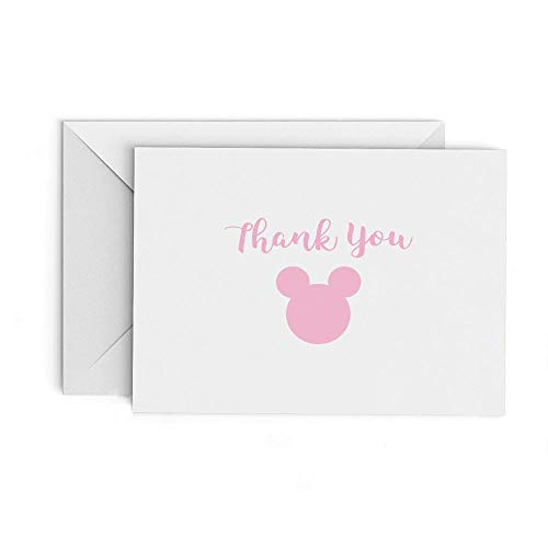 Minnie Ears Pink Thank You Cards - set of 20 Cards with Envelopes ()