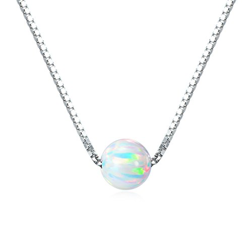 Sterling Silver 6mm Created Opal Choker Necklace 14