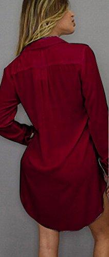 Vino con Camicette Camicetta Camicie Casual Camicia Lunghe Lunghe Chiffon Puro Gonna Camicia Shirt Shirt Irregolare Maniche Donna T Bluse Rosso Blusa Orlo Abito Colore Camicetta Pulsante Fuxiang A4Igqx