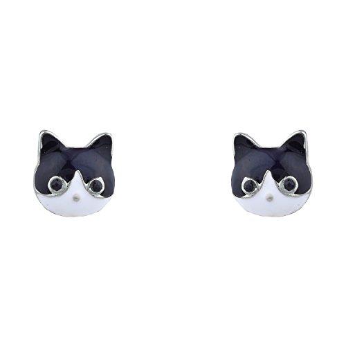 Lux Accessories Silver Tone Black White Kitty Cat Head Shaped Stud Earrings - Cat Head Earrings
