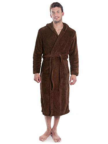 Simplicity Men's Plush Warm Long Hooded Bathrobe Kimono Robe, Brown,One Size -