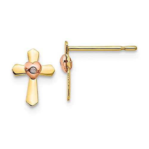 - 14k Yellow Rose Gold Childrens Cross Religious Heart Post Stud Earrings Love Fine Jewelry Gifts For Women For Her