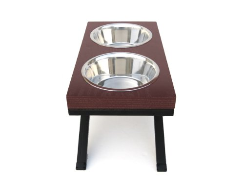 Woodsman Double Bowl Diner - Elevated Dog Bowl - 12'' Tall