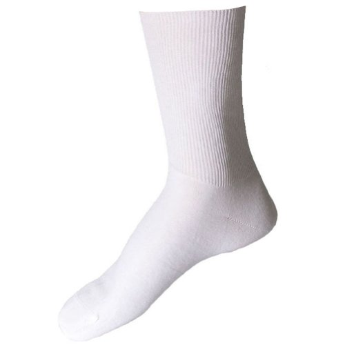 SOK Men's Diabetic Antibacterial Odor Resistant White Socks 2 pairs size: 10 - 12