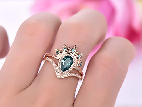 Pear Alexandrite Engagement Ring Set Alexandrite Tiara Ring Enhancer 14K Rose Gold 5x8mm (Wedding Set Alexandrite)