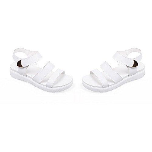 AllhqFashion Mujeres Puntera Abierta Velcro Cuero Sólido Mini Tacón Sandalia Blanco