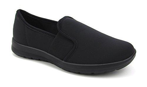 (Women's Cute Memory Foam Elastic Gore Nursing Shoes - Printed - Florence Sunny (8, Black))