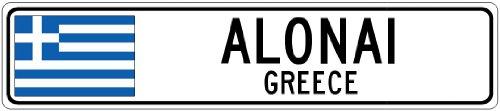 """ALONAI, GREECE - Greece Flag City Sign - 6""""x24"""" Quality Alum"""