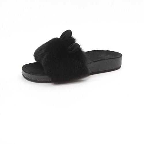 Fankou Autunno e Inverno giorni le donne indossavano pantofole, pigri carino pantofole femmina moda invernale, vestita di nero ,40,