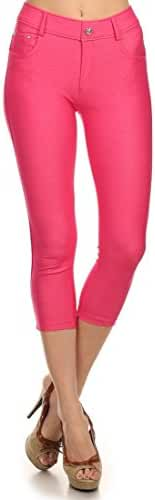 Women's Casual Capri Jean Legging Jeggings with Pockets and Maximum Stretch