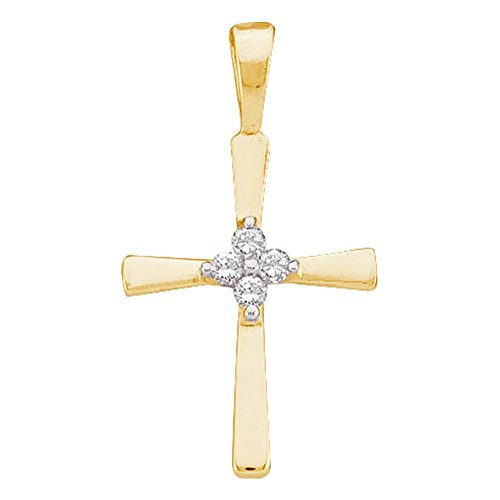 Diamond 14kt Gold Cross Necklace (14kt Yellow Gold Womens Round Diamond Cluster Small Cross Religious Pendant 1/20 Cttw)