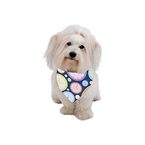 AIKENING Pet Dog Cat Bandana Wall Clock Life Decoration Timetable Fashion Printing Bibs Triangle Head Scarfs Kerchief Accessories for Large Dog Pet Birthday Party Easter Gifts