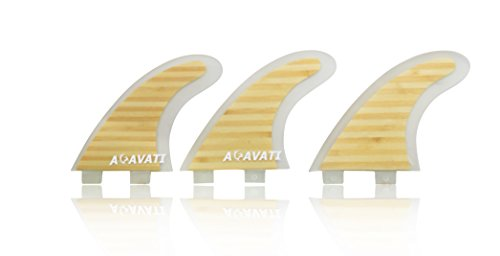 Acavati – Bamboo Surfboard Fin Set – 3 Piece Surf Fin Set– Eco-Friendly Bamboo covered in protective epoxy - Heavy Duty Construction – Future Box Box Epoxy