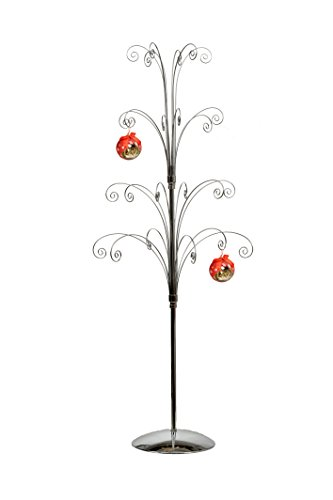 Crystal Bauble - HOHIYA Metal Ornament Display Tree Stand Hook Hanger Christmas Ball Bauble Crystal Suncatcher Ornaments Easter Egg Dog Cat Photo Glass Personalized Home Party Craft Decoration 36inch(Silver)