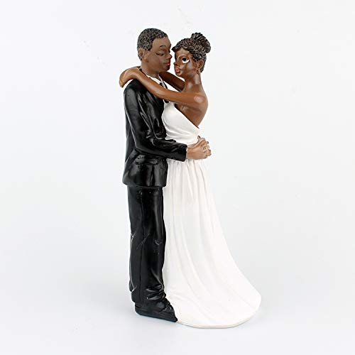 LaHomey Cake Wedding Topper, African American Wedding Anniversary Bride and Groom Resin Cake Topper Figurine (Cake American African Topper Wedding)