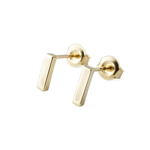 HONEYCAT Mini Flat Bar Earrings in 14k Gold, 7mm Long | Minimalist, Delicate Jewelry (Gold) 14k Gold Stick Drop Earrings