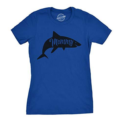 - Womens Mommy Shark Tshirt Cute Family Tee for Ladies (Royal Blue) - M
