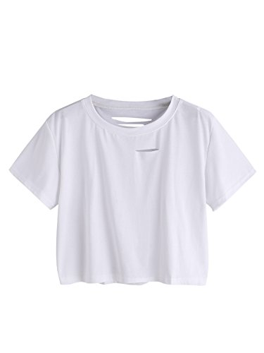 SweatyRocks Women's Summer Short Sleeve Tee Distressed Ripped Crop T-shirt Tops White M