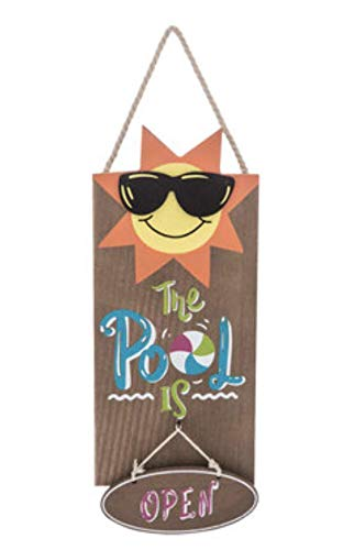 Nikki's Knick Knacks The Pool is Open Summer Wood Sign]()