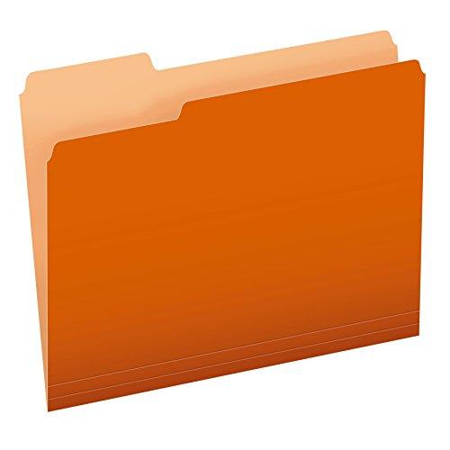 Cut 1/3 Single - Pendaflex Two-Tone Color File Folders, Letter Size, Orange, 1/3 Cut, 100 per box (152 1/3 ORA)