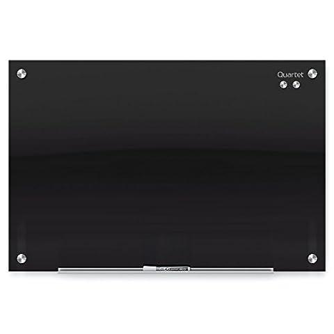 Quartet Glass Dry Erase Board, Whiteboard / White Board, Magnetic, 2' x 1-1/2', Black Surface, Frameless, Infinity (G2418B)