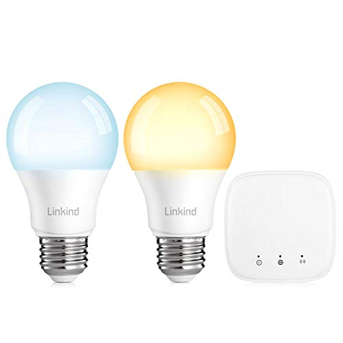 Linkind LED Zigbee Smart Bulb Starter Kit, 60W Equivalent, 2 Dimmable & Tunable(2700K~6500K) E26 Lights & 1 Mini hub, Compatible with Alexa