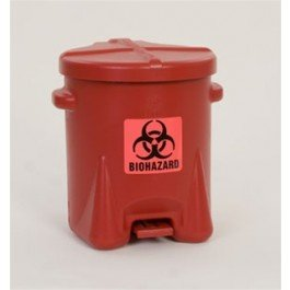 Eagle 943BIO Bio Hazardous Waste Can with for Lever, 16'' Height, 13.5'' Wide, 16.5'' Length, 6 lb, HDPE, Red