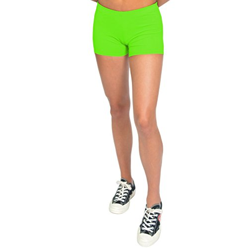 Stretch is Comfort Women's NYLON SPANDEX Stretch Booty Shorts Neon Lime Small ()