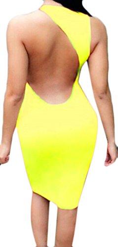 Dos Nu Sans Manches En Forme Slim Femme Domple Sexy Robe Moulante Midi De Clubwear 4