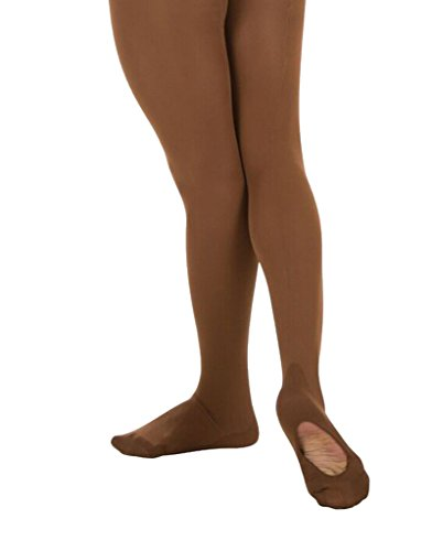 - Body Wrappers Angelo Luzio Youth Girls Convertible Mesh Backseam Tights-Coffee-8/10