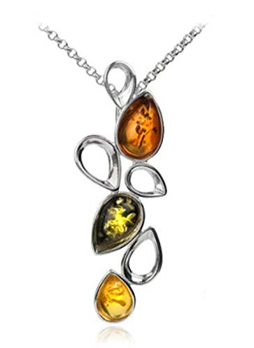 Sterling Silver Multicolor Amber Slider Pendant 18 Inches