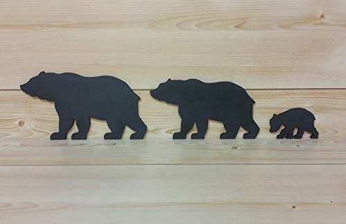 (Black Bear Family of 3 - Bear Family Art - Bear Wall Art - Cut-Out Bear Wall Art - Bear Woodwork - Wooden Bear Silhouette - Animal Art)