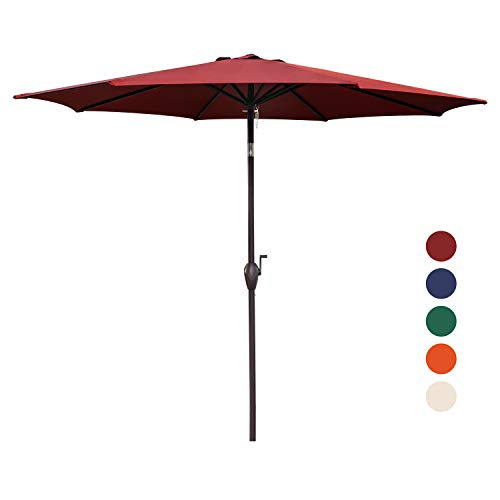 KINGYES 9Ft Patio Table Umbrella Outdoor Umbrella with Push Button Tilt and Crank for Commercial Event Market, Garden, Deck,Backyard Swimming and Pool (9 Ft, Rust Red)