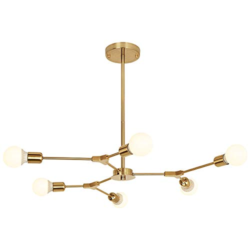 - BOKT Mid Century Modern 6-Light Chandeliers Multi-Adjustable Chandelier Lighting Golden Sputnik Kitchen Island Lighting Include G80 Led Bulb