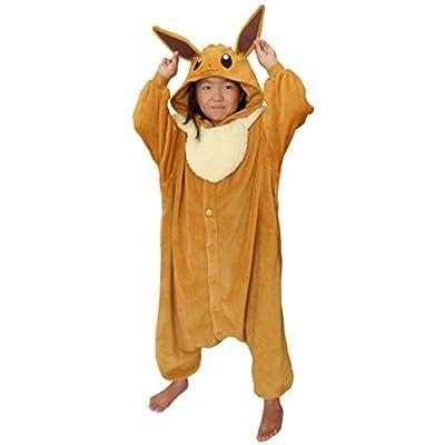 SAZAC Kigurumi - Pokemon - Eevee - Onesie Jumpsuit Halloween Costume - Kids Size (5-9 Year Old) Brown: Clothing